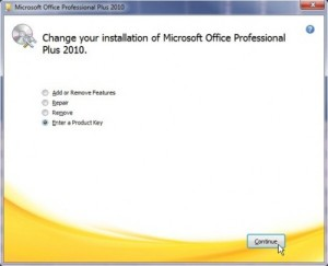 change microsoft office product key